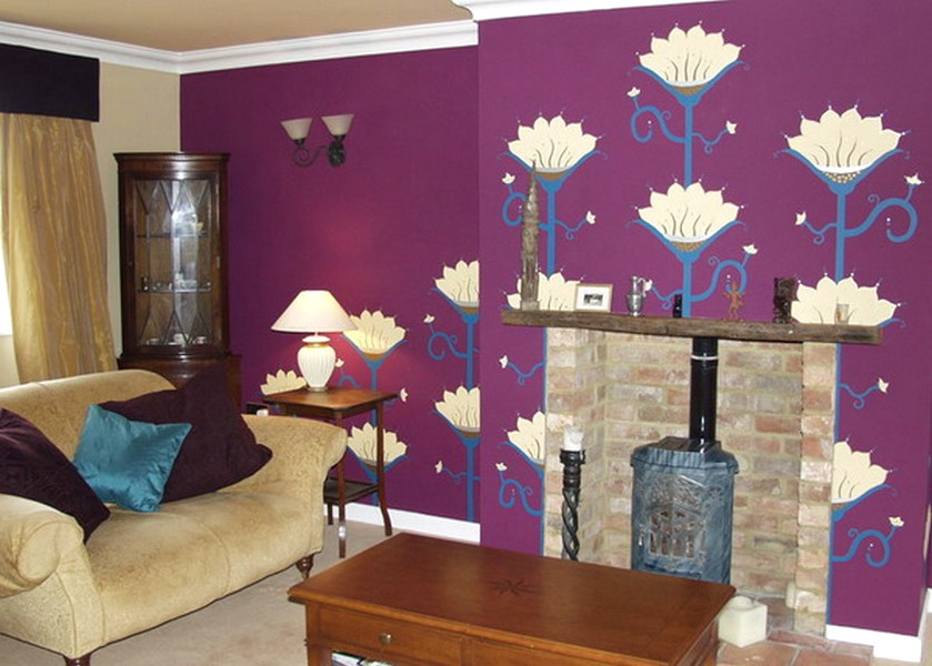 Terbaik Ide Desain Wallpaper Dinding Ruang Tamu Minimalis Motif Bunga Warna Ungu Nyaman Elegan Mempesona Cantik Mewah Terbaru