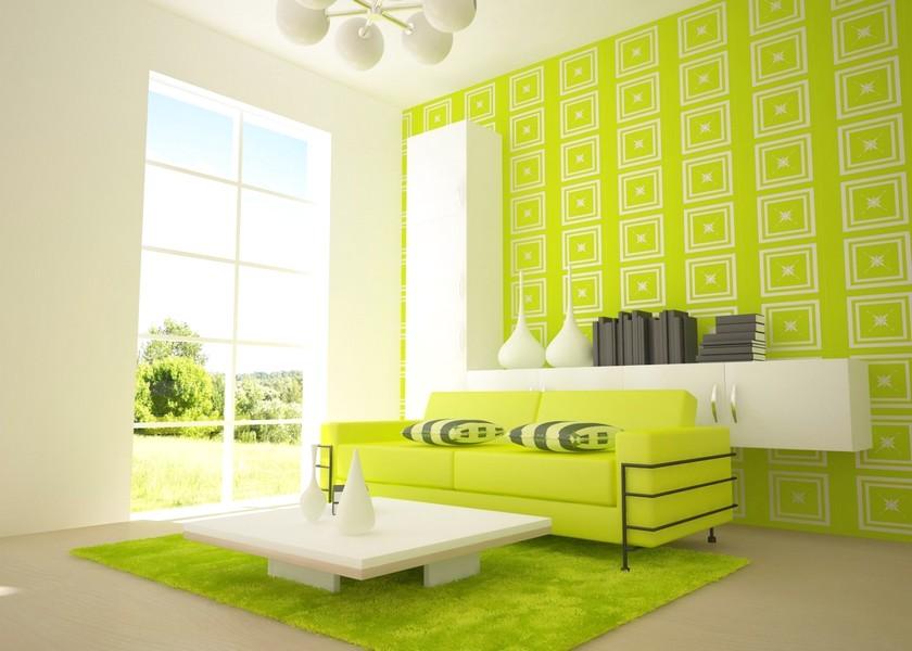 Terbaik Ide Desain Wallpaper Dinding Ruang Tamu Minimalis Motif Persegi Warna Hijau Elegan Mewah Nyaman Asri Modern Terbaru