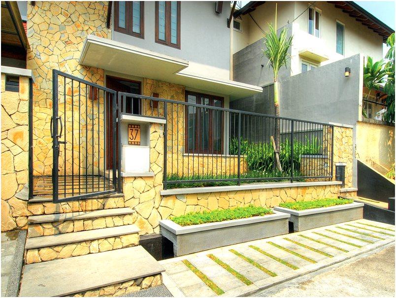 Terbaru desain pagar rumah minimalis batu alam warna kombinasi mewah modern