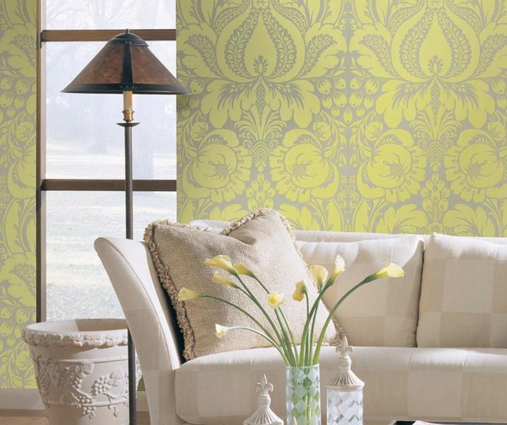 Tradisional Ide Desain Wallpaper Dinding Ruang Tamu Minimalis Motif Bunga Kuning Elegan Mempesona Cantik Mewah Terbaru