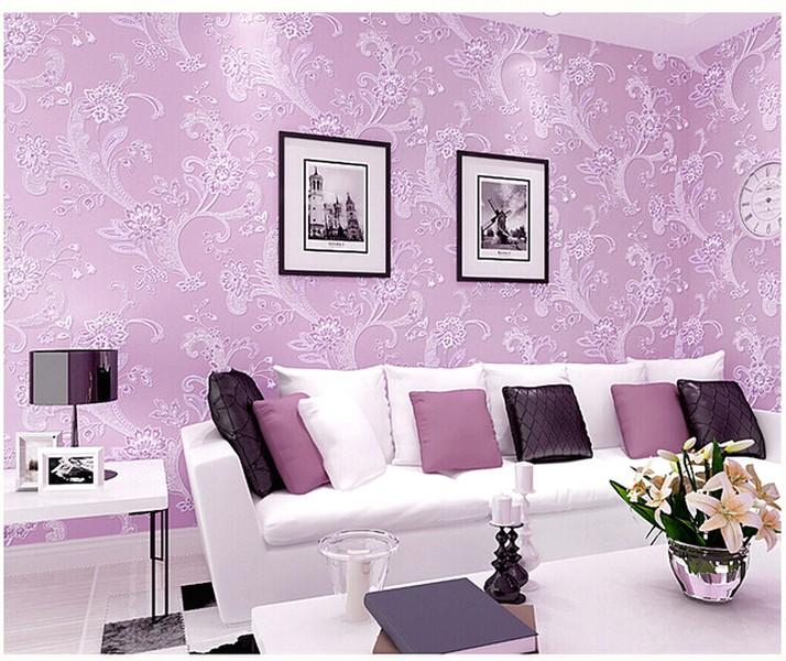 Wallpaper Dinding Ruang Tamu Minimalis Motif Bunga Modern Nyaman Cantik Natural Terbaru Warna Ungu