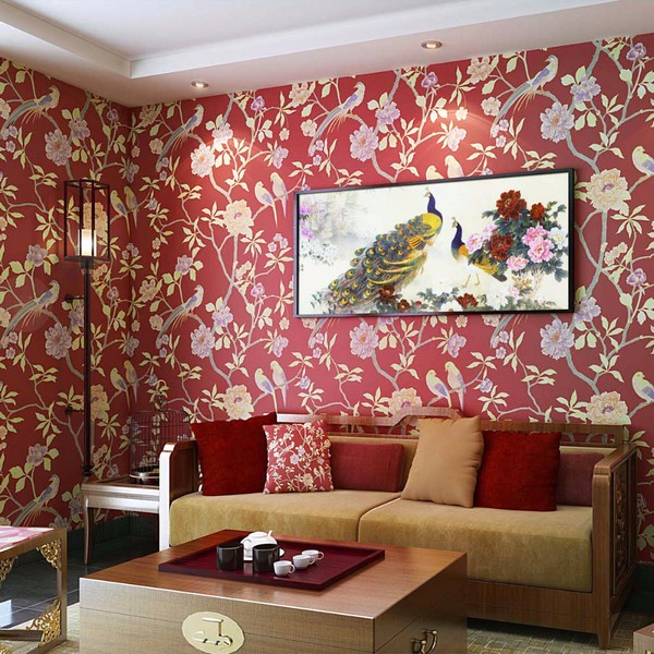 Wallpaper Dinding Ruang Tamu Minimalis Pink Motif Bunga Burung Nyaman Elegan Mempesona Mewah Terbaru