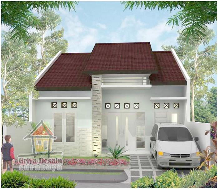 Brilian model desain rumah minimalis 1 lantai mewah nyaman elegan full putih tampak depan dengan genteng cokelat terbaru