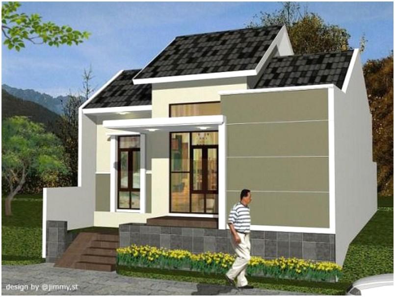 Brilian model desain rumah minimalis 1 lantai mewah nyaman elegan warna putih krem terbaru tampak depan