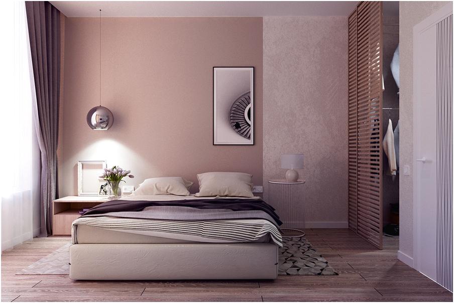 desain interior kamar tidur kecil minimalis sederhana mewah modern dengan lampu cat ungu terbaru