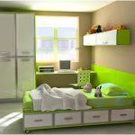 desain kamar tidur kecil minimalis sederhana anak perempuan laki laki warna hijau terbaru