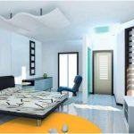 desain kamar tidur kecil minimalis sederhana warna biru modern nyaman terbaru
