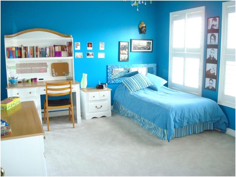desain kamar tidur kecil minimalis sederhana warna biru terbaru