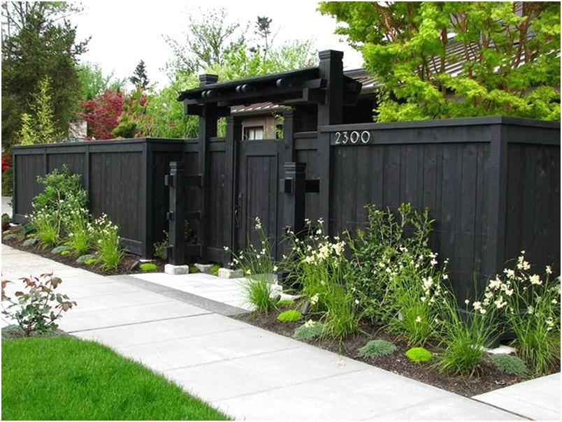 desain pagar rumah minimalis kayu mewah klasik elegan nyaman mempesona terbaru