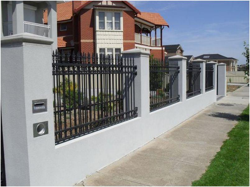 desain tembok pagar rumah cantik minimalis mewah modern terbaru