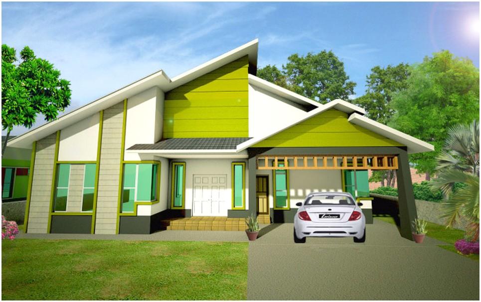 Ide model desain rumah minimalis 1 lantai mewah nyaman elegan asri indah istimewa sempurna warna hijau terbaru