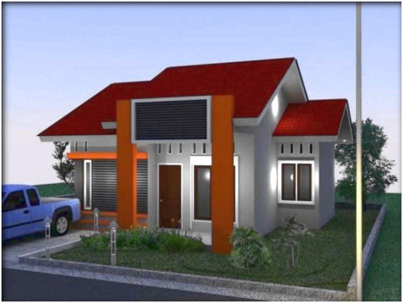 Istimewa model desain rumah minimalis 1 lantai mewah nyaman elegan asri warna orange genteng merah cokelat dinding abu abu tampak depan