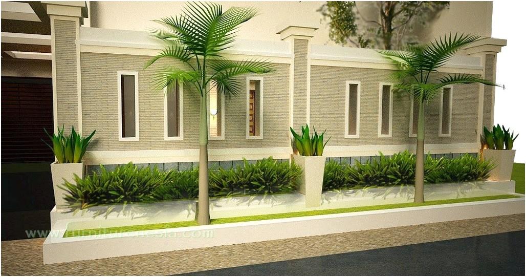 konsep desain pagar rumah minimalis tembok batu alam cantik elegan mewah klasik terbaru