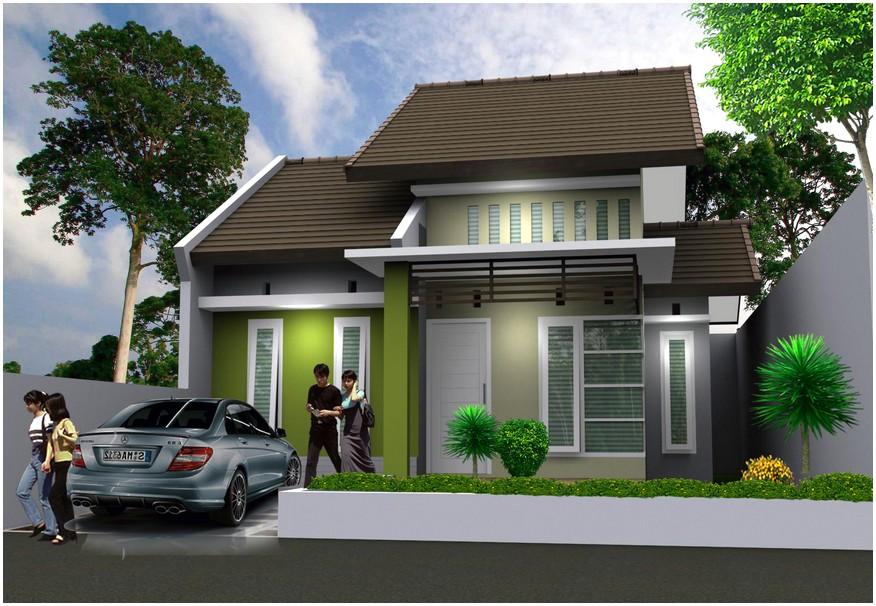 Konsep model desain rumah minimalis 1 lantai mewah nyaman elegan warna hijau abu abu modern terbaru istimewa tampak depan