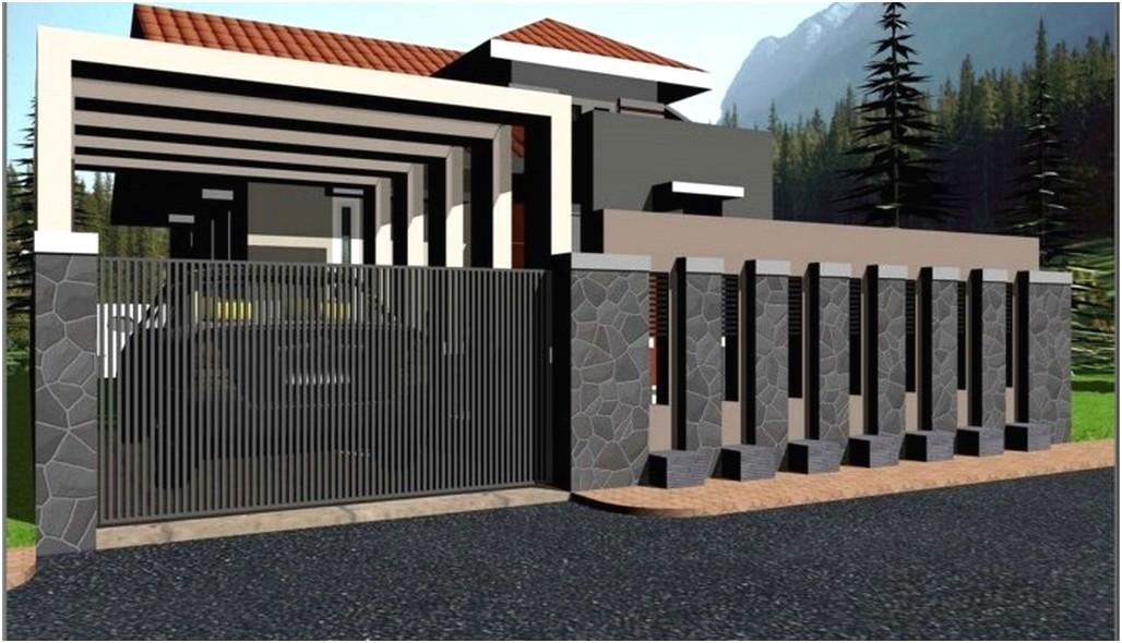 model desain pagar rumah minimalis batu alam modern mewah terbaru