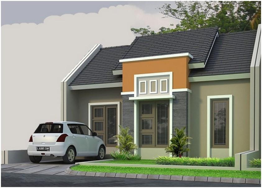 Model desain rumah minimalis 1 lantai mewah nyaman elegan dengan batu alam warna abu abu orange tampak depan