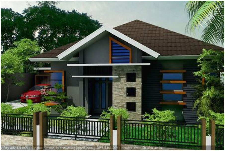 Model desain rumah minimalis 1 lantai mewah nyaman elegan pinggir jalan tampak depan dengan batu alam