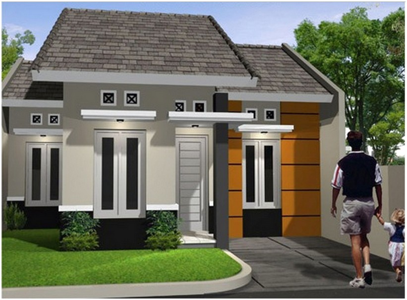 Model desain rumah minimalis 1 lantai mewah nyaman elegan tampak depan dengan batu alam