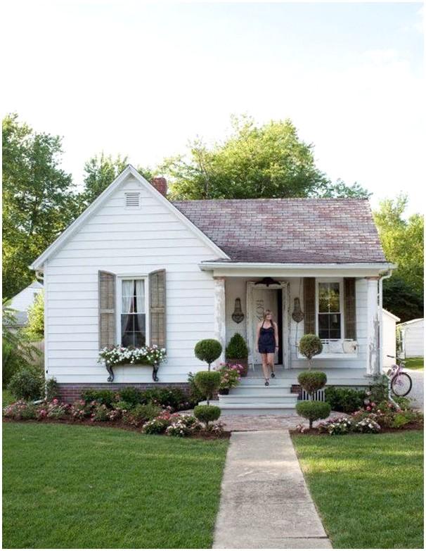 Model desain rumah minimalis 1 lantai mewah nyaman elegan tampak depan warna putih bahan kayu alam klasik