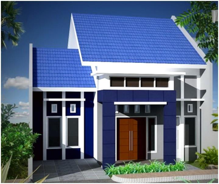 Model desain rumah minimalis 1 lantai mewah nyaman elegan warna biru mempesona tampak depan