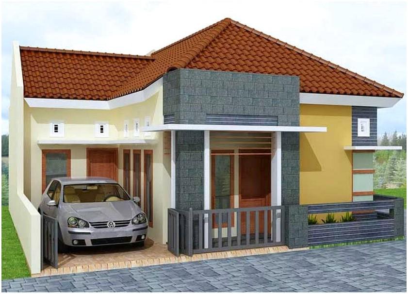 Model desain rumah minimalis 1 lantai mewah nyaman elegan warna krem dan kuning orange terbaik