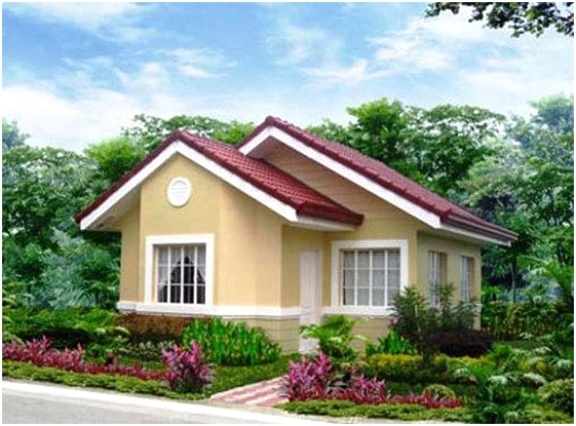 Model desain rumah minimalis 1 lantai mewah nyaman elegan warna krem dengan kebun yang luas terlihat masa kini