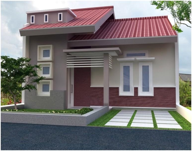 Model desain rumah minimalis 1 lantai mewah nyaman elegan warna krem tampak depan terbaru masa kini