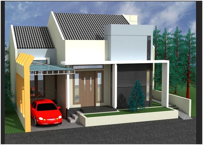Model desain rumah minimalis 1 lantai mewah nyaman elegan warna krem tampak depan