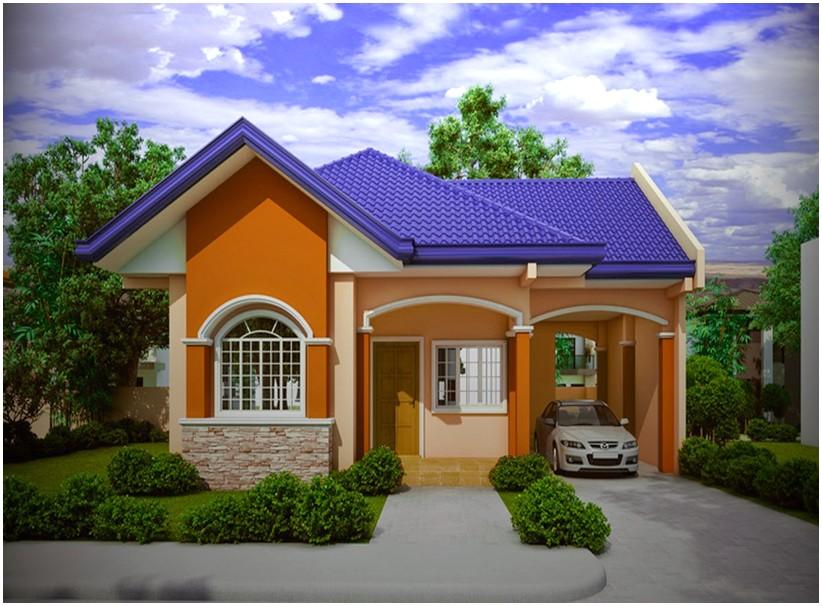 Model desain rumah minimalis 1 lantai mewah nyaman elegan warna orange tampak depan genteng biru