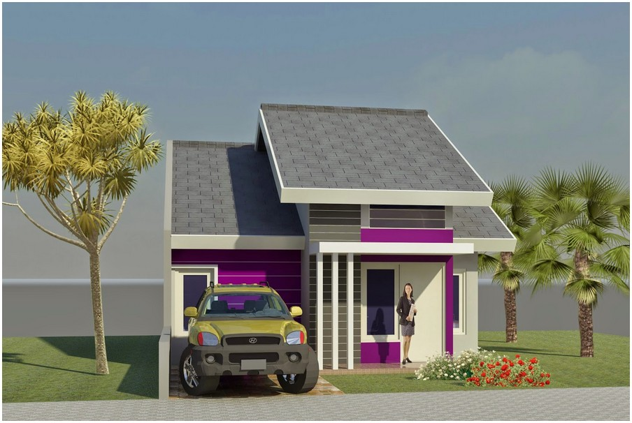 Model desain rumah minimalis 1 lantai mewah nyaman elegan warna ungu genteng abu abu tampak depan terbaru