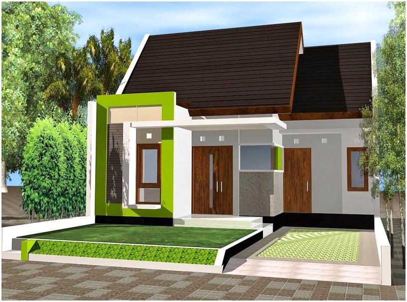 Model desain rumah minimalis 1 lantai modern elegan asri warna hijau daun muda masa kini