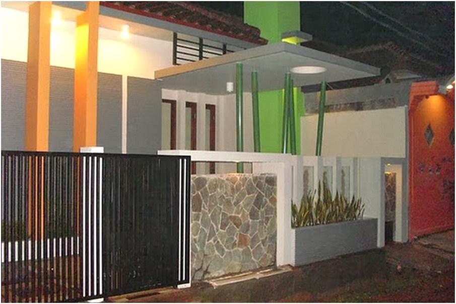 model desain tembok pagar rumah minimalis cantik rapi menawan elegan mewah modern terbaru