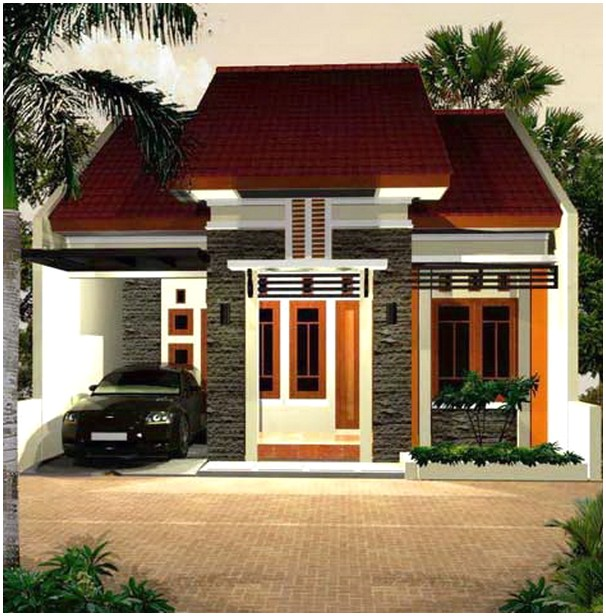 Modern model desain rumah minimalis 1 lantai mewah nyaman elegan dengan batu alam tampak depan