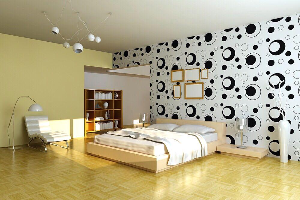 Contoh Wallpaper Sticker Dinding Kamar Tidur Modern
