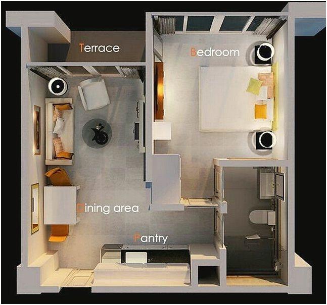 Contoh Gambar Denah Rumah 1 Kamar Tidur Minimalis 3D