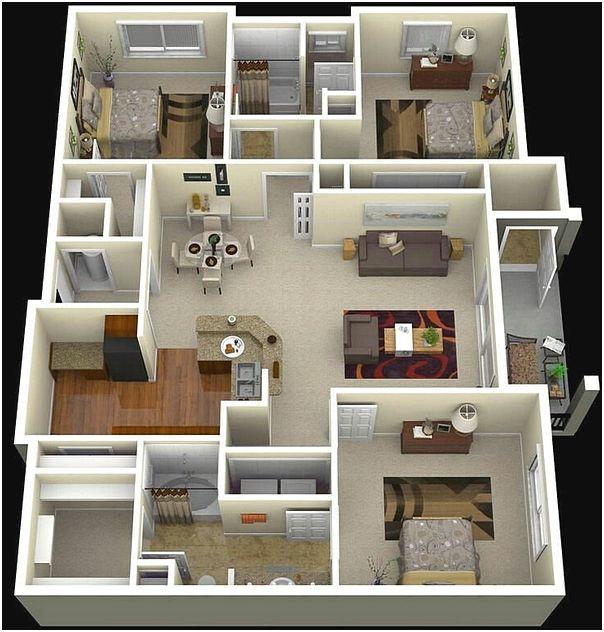 Contoh Sketsa Denah Rumah Minimalis 3 Kamar Tidur 3D