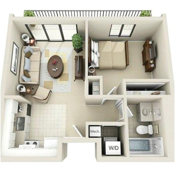 Denah Rumah 1 Kamar Tidur Terbaru