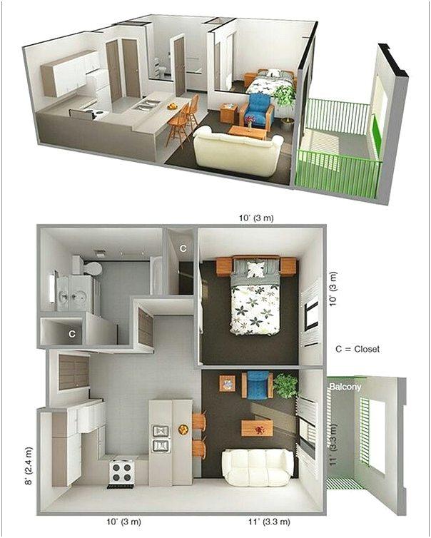 Denah Rumah 1 Kamar Tidur Minimalis 3D