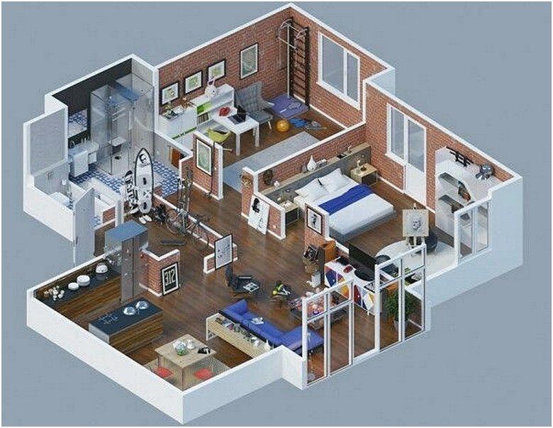 Denah Rumah 1 Kamar Tidur Minimalis Terbaru 3D
