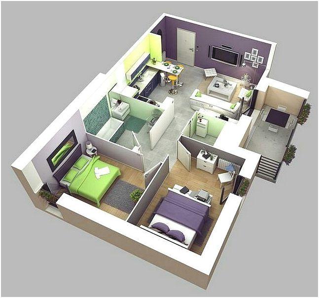 Denah Rumah 2 Kamar Tidur Minimalis 3D