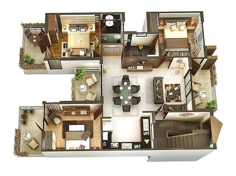 Denah Rumah 3 Kamar Tidur Minimalis 3D