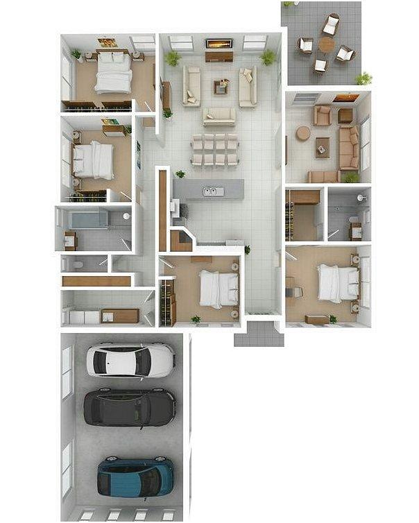 Denah Rumah 4 Kamar Tidur Terbaru 3D