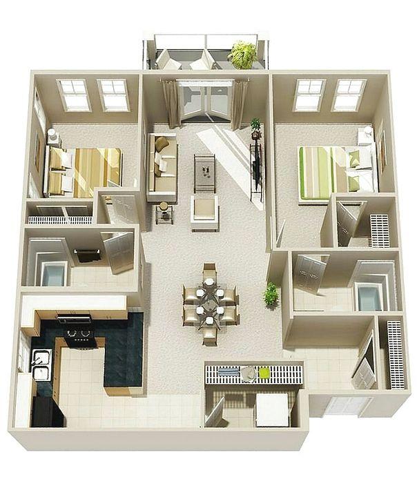 Denah Rumah Minimalis 2 Kamar Tidur 3D Baru