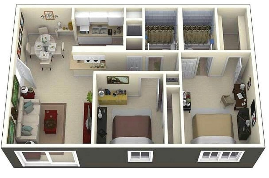 Denah Rumah Minimalis 2 Kamar Tidur 3D Terbaru