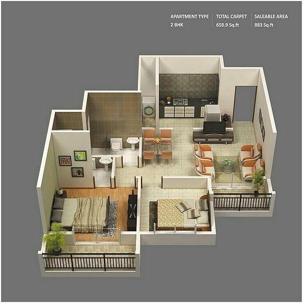 Denah Rumah Minimalis 2 Kamar Tidur 3D