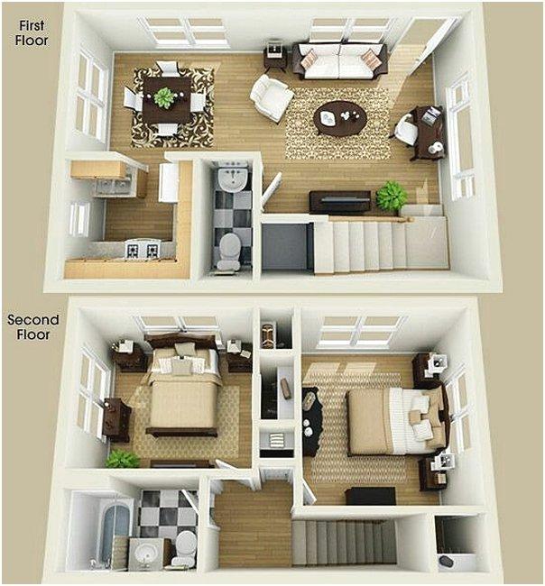Denah Rumah Minimalis 2 Lantai 2 Kamar Tidur 3D