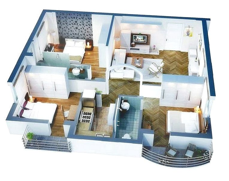 Denah Rumah Minimalis 3 Kamar Tidur 3D Terbaru