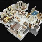 Denah Rumah Minimalis 4 Kamar Tidur 3D Terbaru