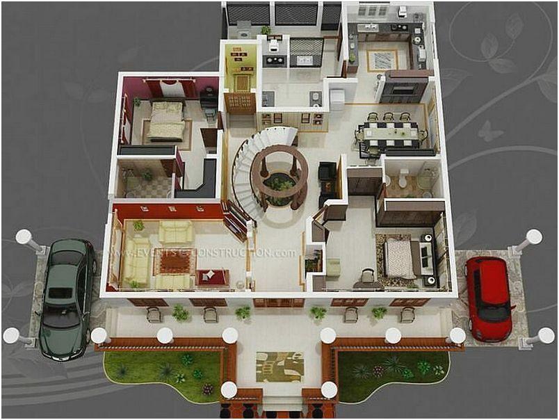 Denah Rumah Minimalist 2 Kamar Tidur Desain Baru 3D