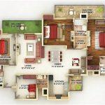 Denah Rumah Minimalist 3 Kamar Tidur Besar Desain Baru 3D